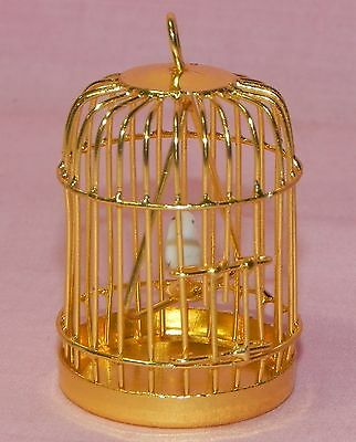 Dollhouse Miniature Bird Cage Gold with Bird Minis 1:12 Scale
