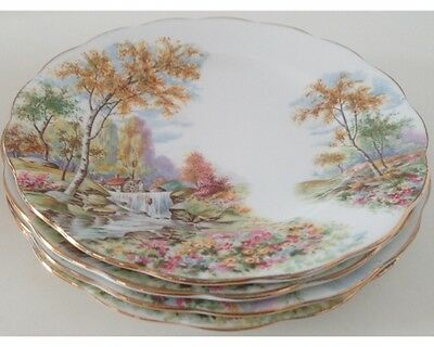 """Set of 4 Royal Standard The Old Mill Stream 8"""" Salad Plates"""