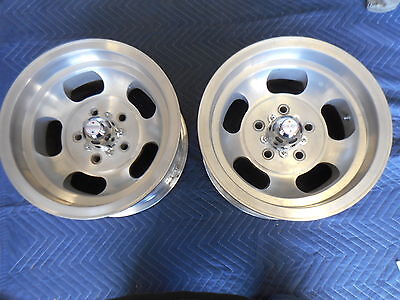 VINTAGE 14X7 PAIR  US INDY MAGS UNRESTORED  NICE 5 ON 4 3/4 CHEVY RAT ROD HOTROD