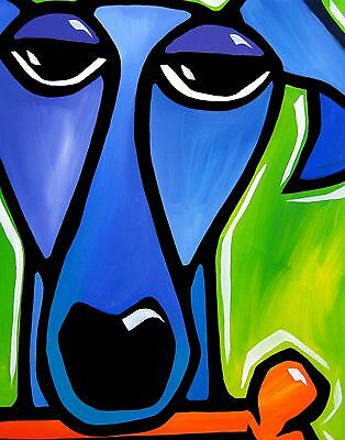 SATISFACTION - Original blue green POP ART Abstract MODERN DOG print FIDOSTUDIO
