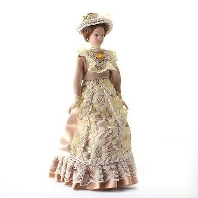 Porcelain Victorian Lady in Beige Dress & Hat 1.12th Scale Doll