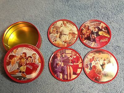 Coca-Cola Metal Coasters With Tin Holder Vintage 1994 Coke
