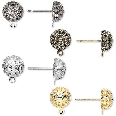 10 8mm Round Filigree Half Ball Earring Findings with Loop Plated Steel & Brass