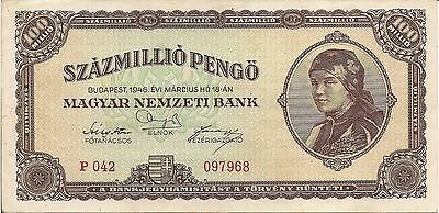 Hungary P124, 100  Million Pengo, woman with scarf / Parliament, Budapest 1946