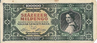Hungary P127, 100,000 Pengo  girl with ponytail hair, 1946