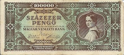 Hungary P121, 100,000 Pengo  girl in native dress with ponytail in hair, 1945