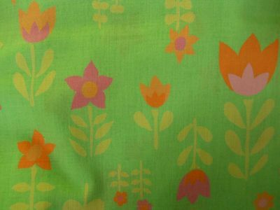 Great Retro Colors&Design~Vintage Cotton Fabric~Lime Green w/Bright Flowers