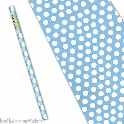 "5ft x 30"" POWDER BLUE White Polka Dot Spot Style Party Gift Wrapping Paper Roll"