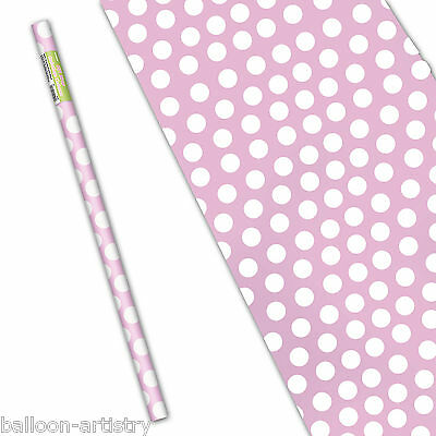 "5ft x 30"" LOVELY PINK White Polka Dot Spot Style Party Gift Wrapping Paper Roll"