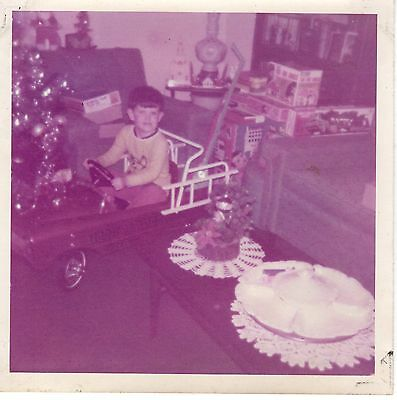 Vintage Photo Christmas Morning, Young Boy Fire Truck Pedal Car, 1970's,  mch