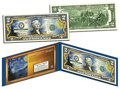 STARRY NIGHT by Vincent van Gogh Genuine Legal Tender Colorized U.S. $2 Bill