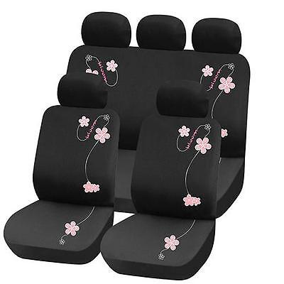 TRUYOO Pink Flower 9PC Universal Car Vehicle Seat Cover Protector Set