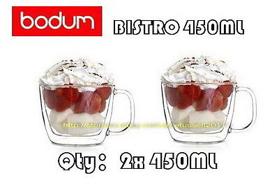 IN BOX BODUM 10608-10 BISTRO DOUBLE WALL CLEAR THERMO-GLASS MUGS x2 450ML