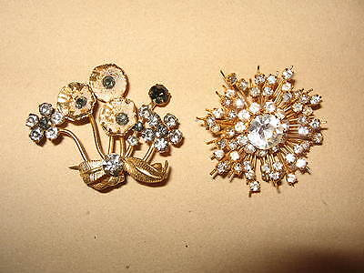 "2 Vintage Gold Tone Signed ""AUSTRIA"" Crystal Brooches"