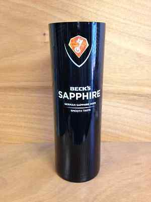 Beck's Sapphire German Beer Back Bar Vase New in Box Black Glass  Free Shipping