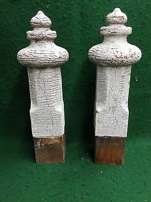 Antique Pair Wood Porch Span Drop Finials Decorative Gingerbread Old Vtg 4336-15