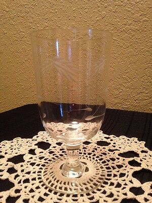 """1-Sasaki Etched Crystal Cut Wheat 5-1/2""""Inch Footed Juice Glass - Smooth Stem"""