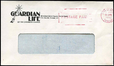 Trinidad & Tobago 1992 Port Of Spain Postage Paid Cover #C17105