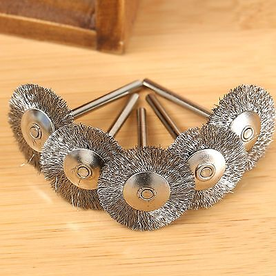 5pcs 25mm Steel Wire Wheel Flat Brushes Cleaning Polishing Rotary Tools