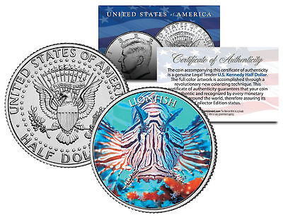 LIONFISH * Fish Series * JFK Kennedy Half Dollar U.S. Colorized Coin