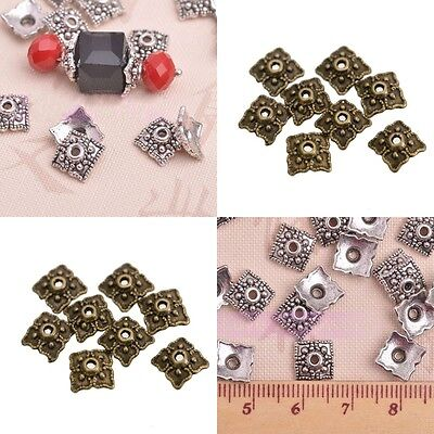 100pcs Retro Silver/Bronze Tone Flower&Square Hollow Bead Caps Finding 8mm