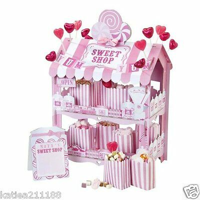 wedding birthday party talking tables pink sweet shop display stand cart