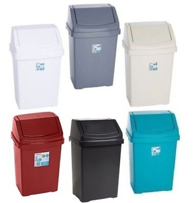 Plastic Swing Top Bin Waste 8L 15L 25L 50L Rubbish Dust Home Kitchen Office