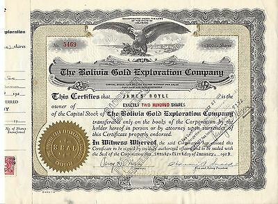 THE BOLIVIA GOLD EXPLORATION COMPANY....1929 STOCK CERTIFICATE