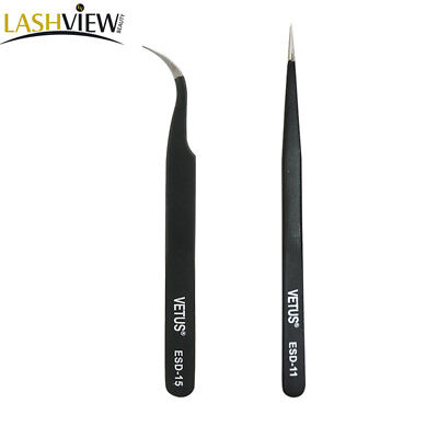 Eyelash Extension Makeup Tools Tweezer Couple Straight & Curved Vetus Tweezers