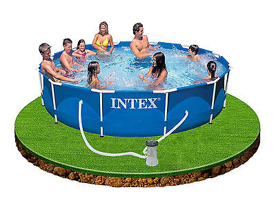 Intex 12ft Metal Frame Swimming Pool Set Filter Pump DVD Family Garden Summer