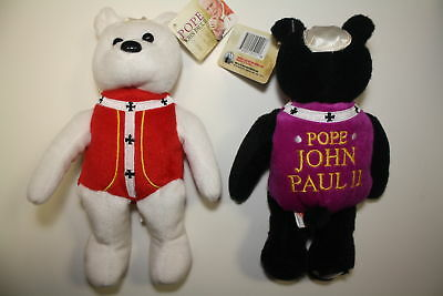 Pair of POPE JOHN PAUL II PLUSH BEARS with Canonization 24K Gold State Quarters