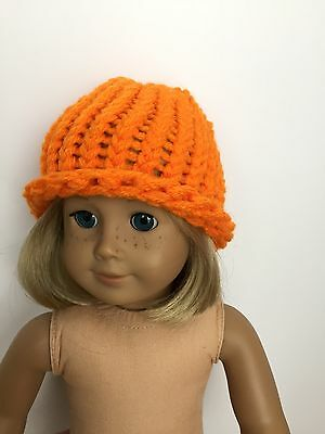 """New Doll Clothes Fits 18"""" American Girl Doll Handmade Orange Knitted Hat"""