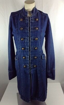 #725 Womens Don't Mess With Texas Miltary Style Denim Overcoat Jacket Small