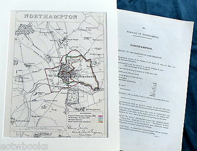 NORTHAMPTON -  Mounted Antique Map / Plan, Boundary Commissioners Report - 1868.