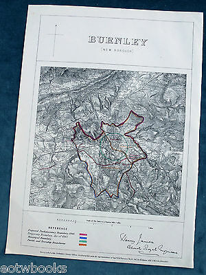 BURNLEY -  Antique Map / Plan, Boundary Commissioners Report - 1868 .
