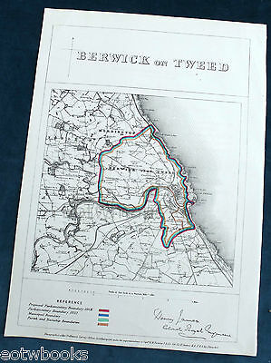 BERWICK on TWEED -  Antique Map / Plan, Boundary Commissioners Report - 1868 .