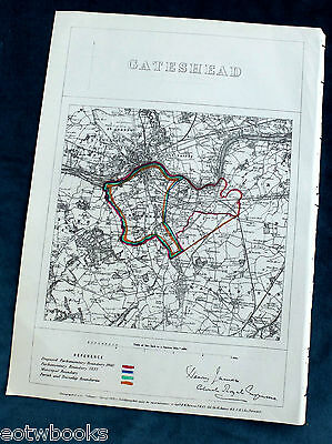 GATESHEAD -  Antique Map / Plan, Boundary Commissioners Report - 1868 .