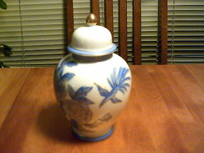 ANDREA BY SADEK HAND PAINTED URN, VASE, BLUE FLOWER MOTIF WITH BIRD #6884