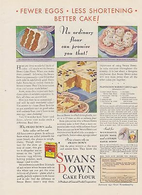 SWANS DOWN Cake Baking Flour 1930s Vintage Original AD Advertisement