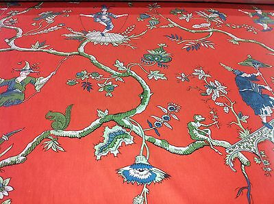"""vintage A.L.DIAMENT & CO ASIAN UK HAND PRINT FABRIC coral """"CHINAMAN IN SWING"""""""