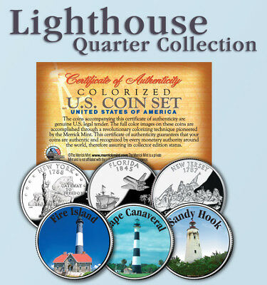 Historic American * LIGHTHOUSES * Colorized US Statehood Quarters 3-Coin Set #5