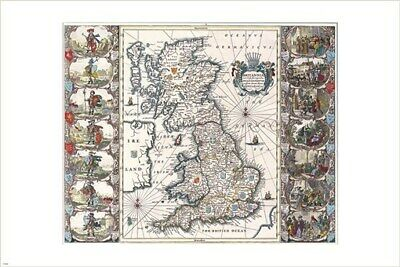 antique MAP OF THE BRITISH ISLES POSTER john speed HISTORIC COLLECTORS 24X36
