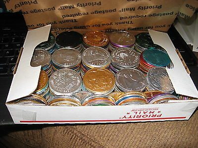 3.5 pounds mixed mardi gras doubloon aluminum new orleans 1960-85 about 300 coin