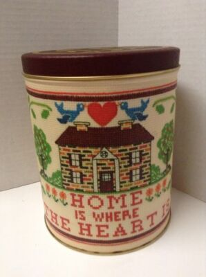 Vintage Kitchen Canister Home Is Where The Heart Is Tin Cookie Storage Container