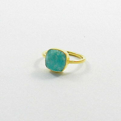 Natural Amazonite 925 sterling silver Vermeil 8x8mm Cushion gemstone Bezel ring