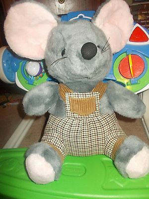 "CIRCUS CIRCUS LAS VEGAS RENO GRAY MOUSE 14""+ ears STUFFED ANIMAL PLUSH overalls"