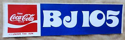 Vintage Bumper Sticker - Coca Cola and BJ105 Radio Station - Red, White, & Blue