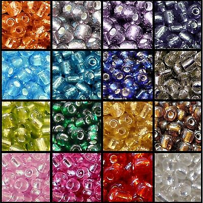 25g 11/0, 6/0, 8/0 Silver Lined Glass Seed Beads - Various Colour & Size