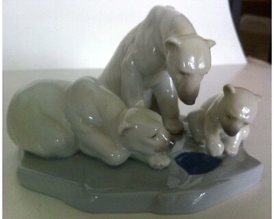 Retired Lladro BEARLY LOVE # 1443 - Figurine - POLAR BEAR & TWO CUBS With BOX