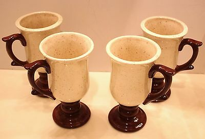CUPS/MUGS 4PCS  CREAM/CHOCOLATE BROWN WITH DETAILED HANDLE#103